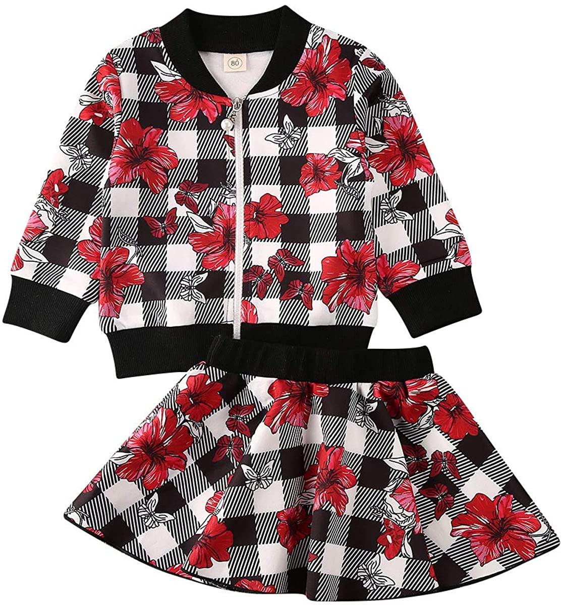 Toddler Kids Baby Girls Plaid Skirt Set Cardigan Jacket Coat + Tutu Knit Dress Set Long Sleeve Fall Winter Outfits Set