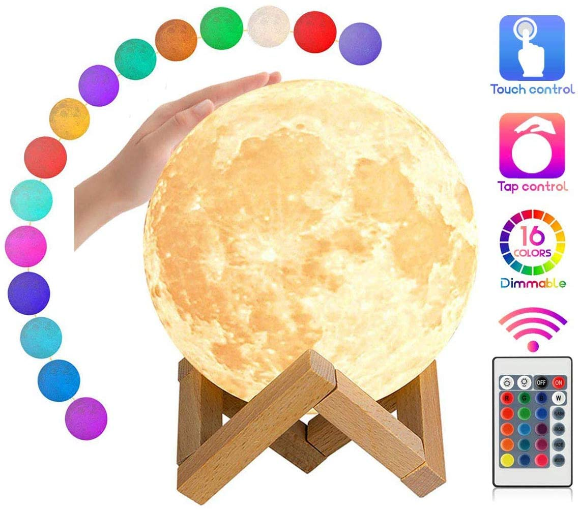 Asiawill 3D Moon Lamp 5.9 inch 16 Colors Moon Style Lamp USB Rechargeable LED Night Light with Remote Touch Control Dimming for Kid Room Decoration