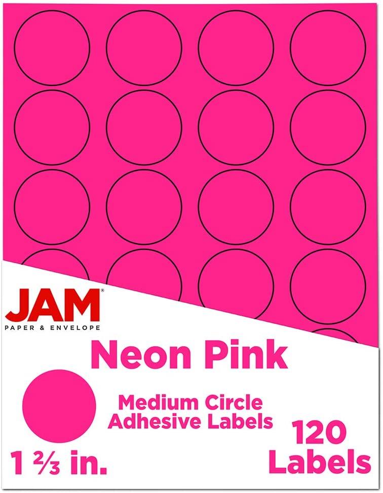 JAM PAPER Circle Label Sticker Seals - 1 2/3 Inch Diameter - Neon Pink - 120 Round Labels/Pack