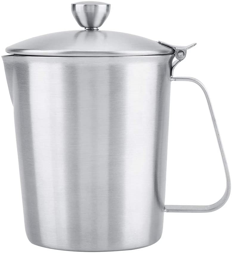 Stainless Steel Milk Frothing Pitcher Coffee Pull Flower Cup Mug with Cover & Measurement(500ML)