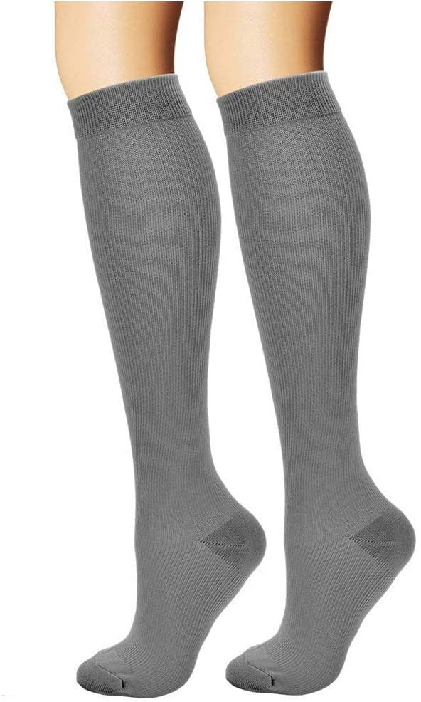 ASRocky Graduated Compression Socks Anti-Fatigue Calf High Below Knee Mens Womens Sock Leg Foot Ankle Heel Support Pain Relief Stockings Reduce Swelling (1 Pair, Lg/XL, Gray)