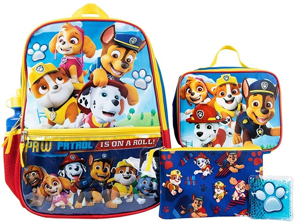Paw Patrol Heroes Nickelodeon Cartoon 5-Piece Backpack Set