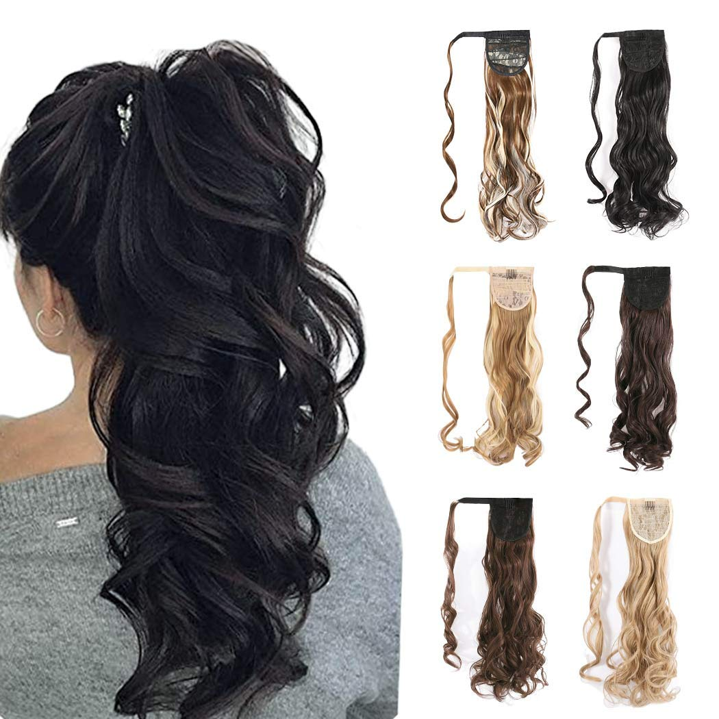 Favelo Pony Tails Wrap Around Hairpiece Curly Wavy Ponytail Extension Claw Synbthetic Clip in Hair Extensions Magic PasteHair Wraps Human Long Hair Pony Tail (Light Ash Brown(430))