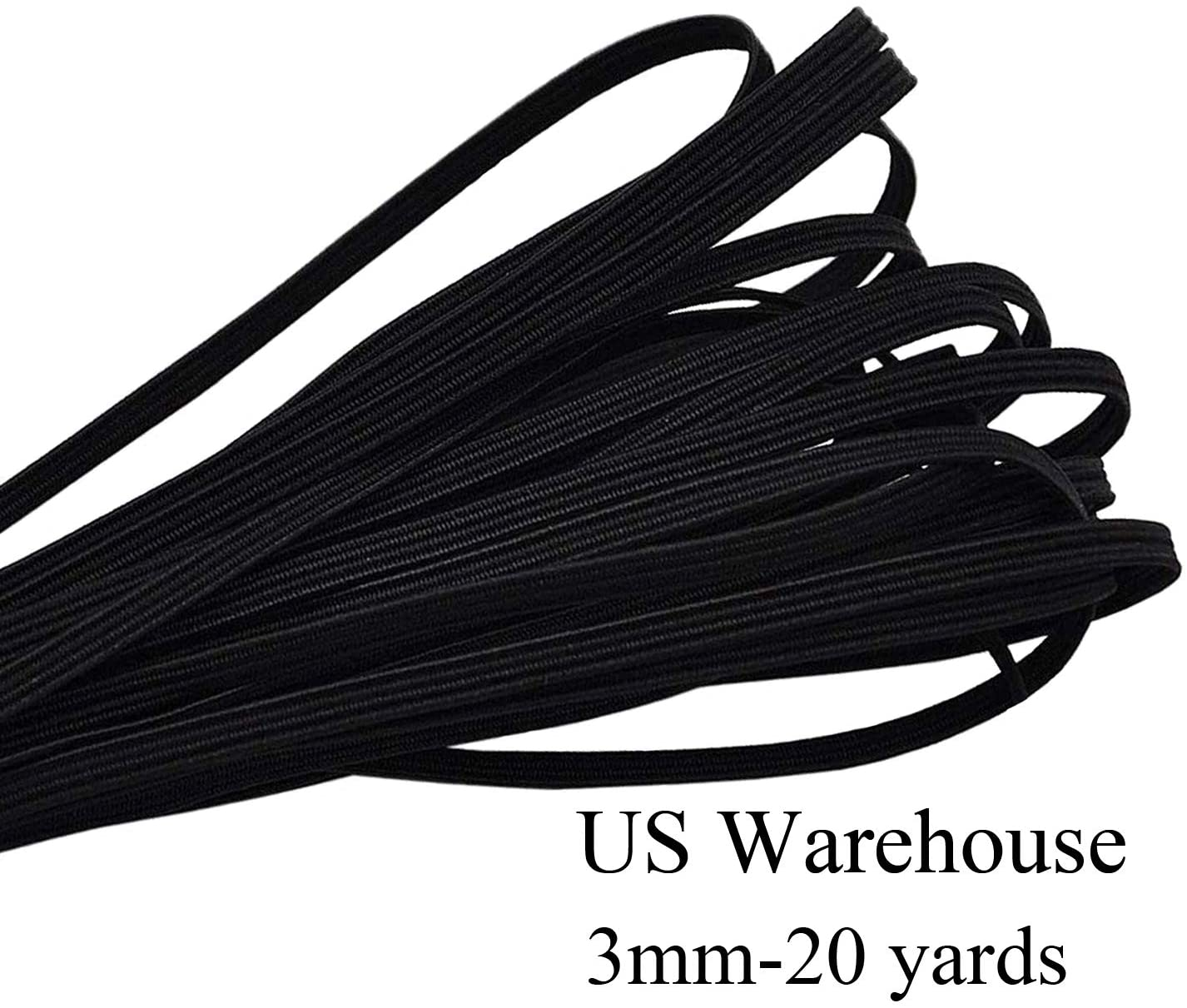INHHOME Black Elastic String for Masks 1/8 inch Elastic Cord Band for Sewing 10/20 Yards Flat Rope Strap