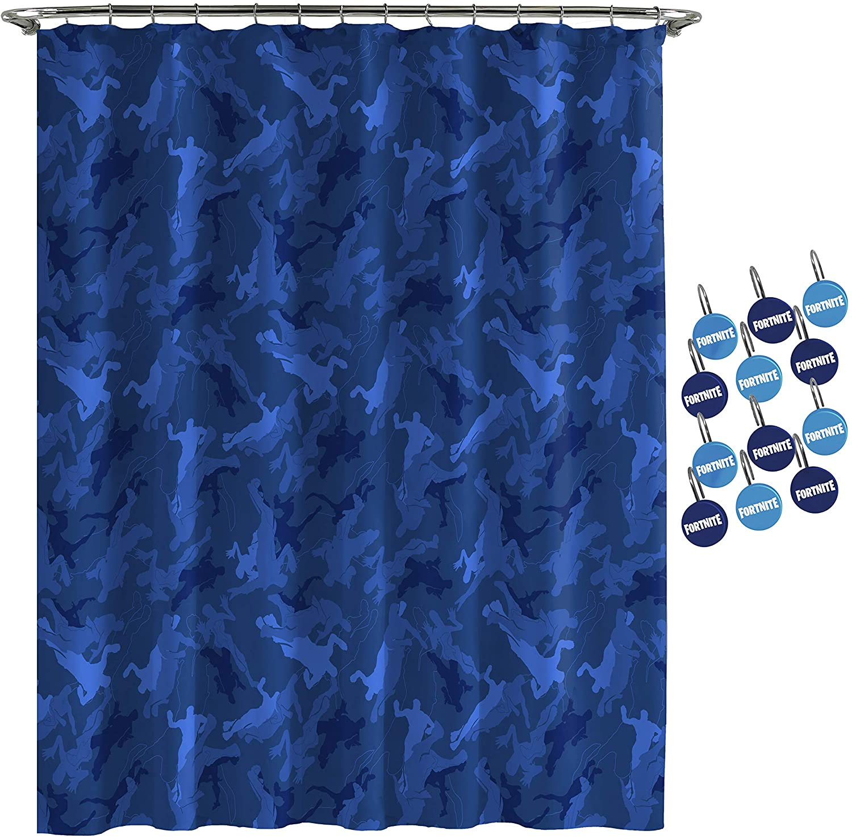 Jay Franco Fortnite Emote Camo Shower Curtain & 12-Piece Hook Set & Easy Use - Kids Bath (Official Fortnite Product)