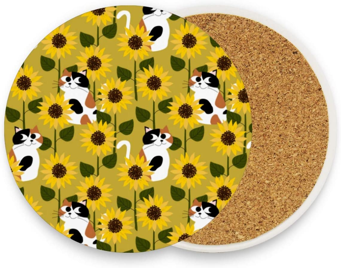 Calico Cat In Sunflower Field Round Coaster Set Table Coasters