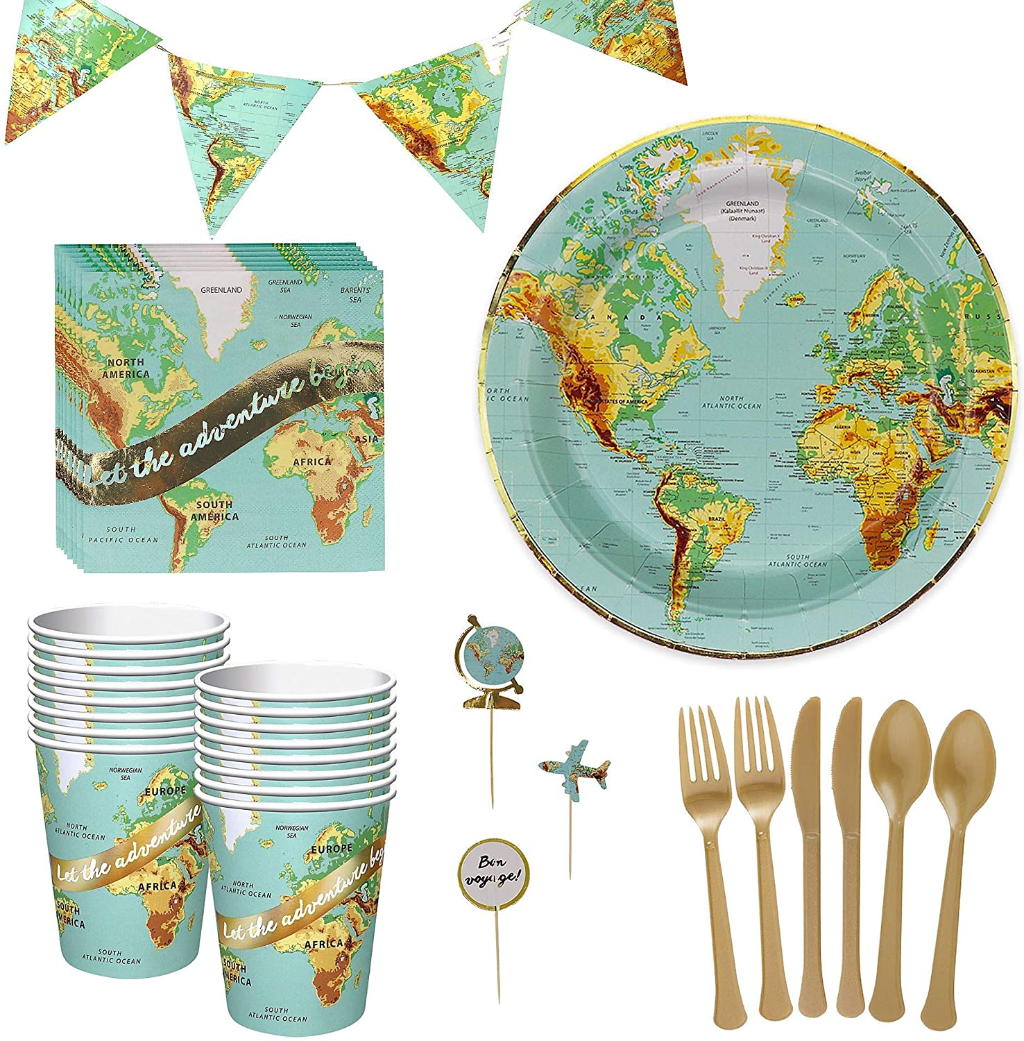 Party City Bon Voyage Tableware Kit for 32 Guests, Party Supplies, Includes Plates, Napkins, Cups and More