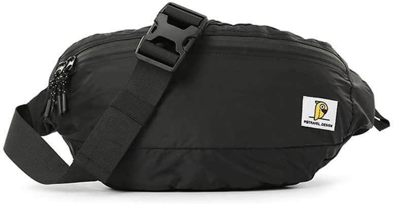 Waist Pack Bag Fanny Pack Sling Bag for Men & Women, Waterproof Lightweight Chest Shoulder Bag Travel Pocket with Adjustable Strap for Outdoors Workout Casual Running Hiking Cycling(Black)