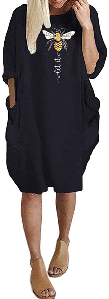 JiaMa Let it be Long Sleeve Loose Pocket Oversize Tunic Dress with Pockets