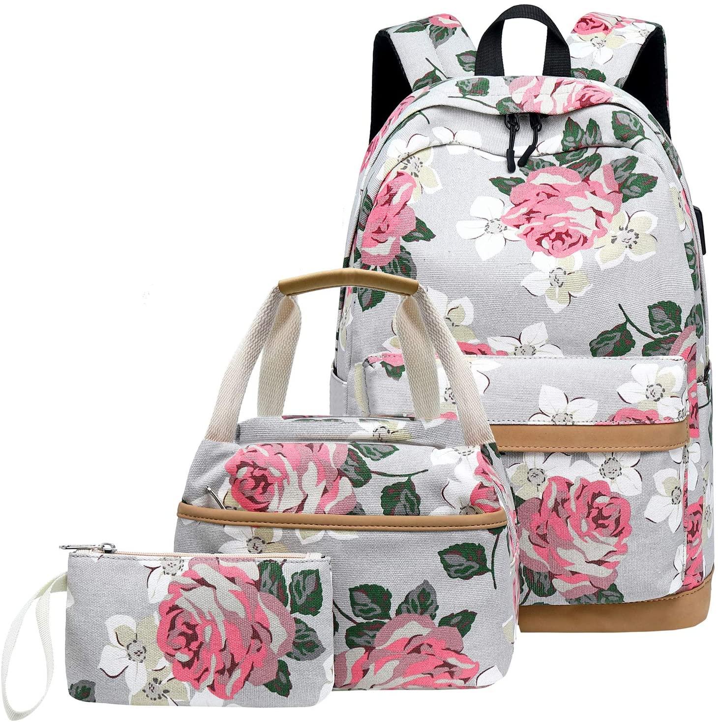Canvas School Backpack Teens Backpack School Bag Backpack for School Book Bag set (Floral-grey)