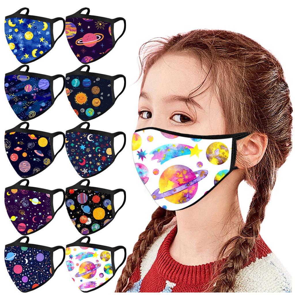 Walsent 5/10 PCS Space/Christmas Cotton Face Bandanas Cute Cartoon Print Face Mouth Bandanas Protective for Kids, Outdoor Activities