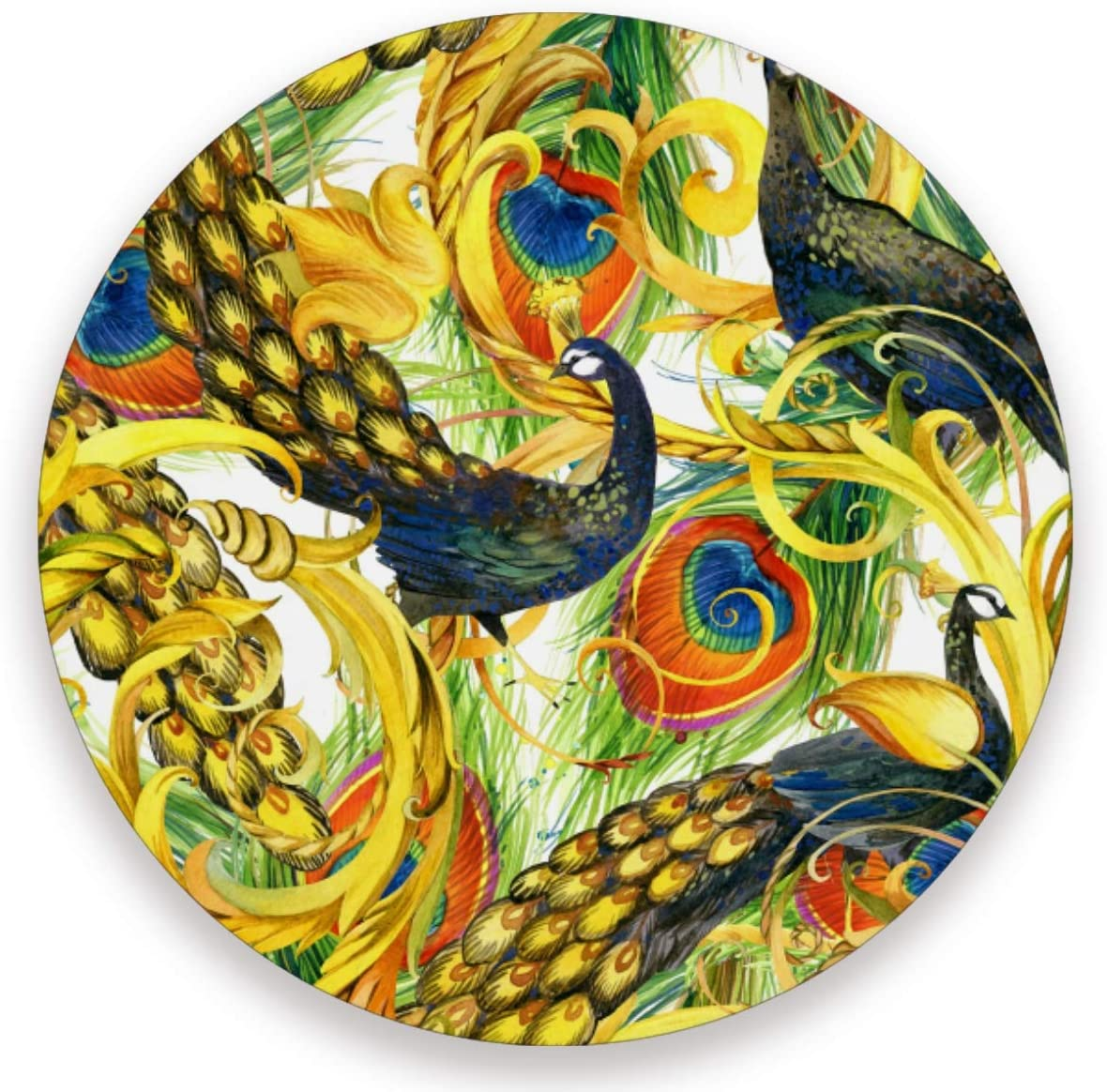Olinyou Vintage Peacock Gold Animal Painting Coaster for Drinks 1 Pieces Absorbent Ceramic Stone Coasters with Cork Base