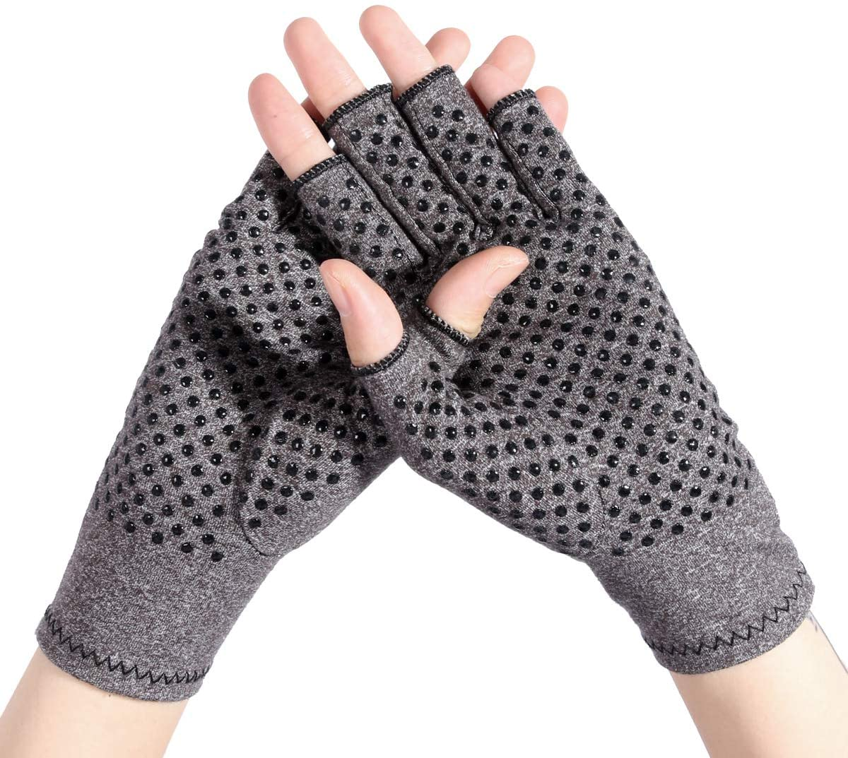 Kangwell Arthritis Compression Gloves (1-Pairs) | Ease Muscle Tension, Joint Pain Relief-Carpal Tunnel Support, Fingerless Compression Arthritis Gloves for Men & Women (Gray-Gel, S)