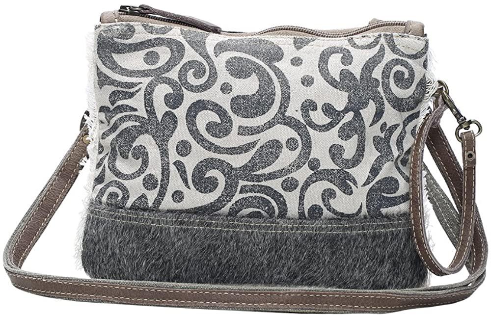 Myra Bag Dual Strap Cowhide & Upcycled Canvas Small Bag S-1150