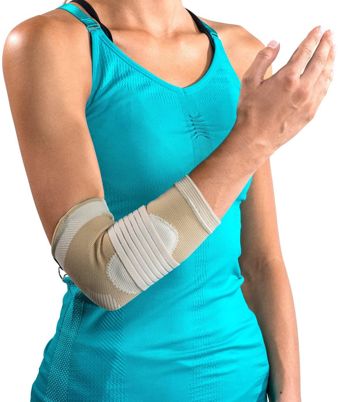 DonJoy Advantage DA161ES02-TAN-S Deluxe Elastic Elbow for Sprains, Strains, Golfer's and Tennis Elbow, Tan, Small 8