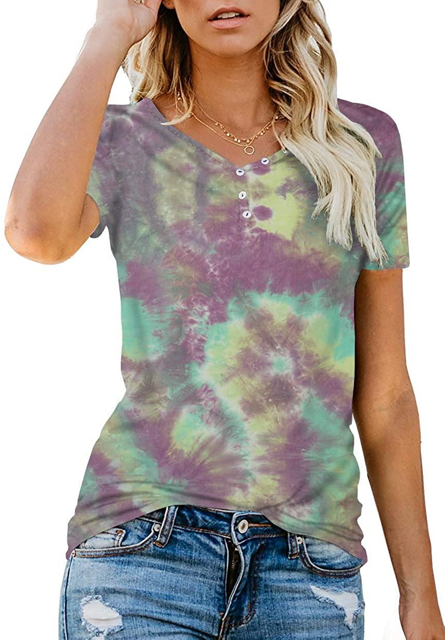 Mafulus Womens Short Sleeve Henley Button up T Shirt Casual Basic Tops Blouse