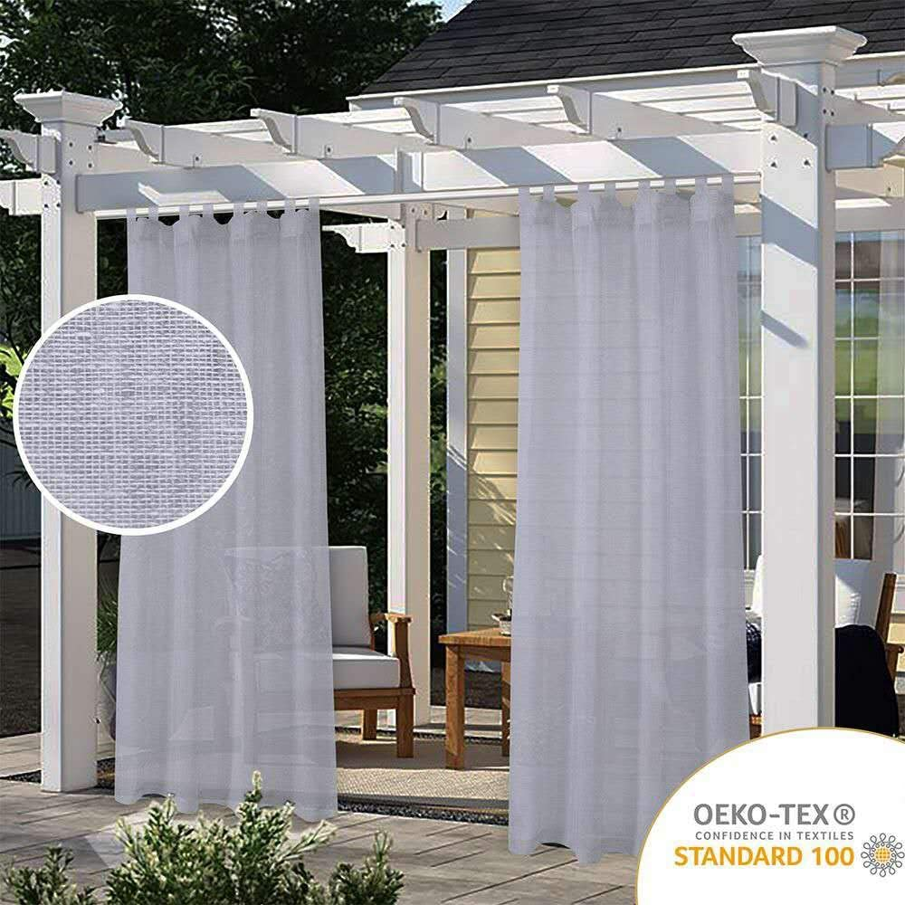 LORDTEX Burlap Linen Look Outdoor Curtain for Patio - 2 Panels Waterproof Tab Top Sheer Curtains for Pergola, Porch, Cabana and Gazebo Indoor/Outdoor Voile Sheer Drapes, 52 x 120 Inch, Silver