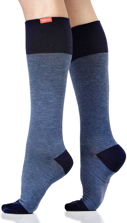 VIM & VIGR Cotton 15-20 mmHg Compression Socks for Women & Men (Heathered Navy, Large/X-Large Wide Calf)