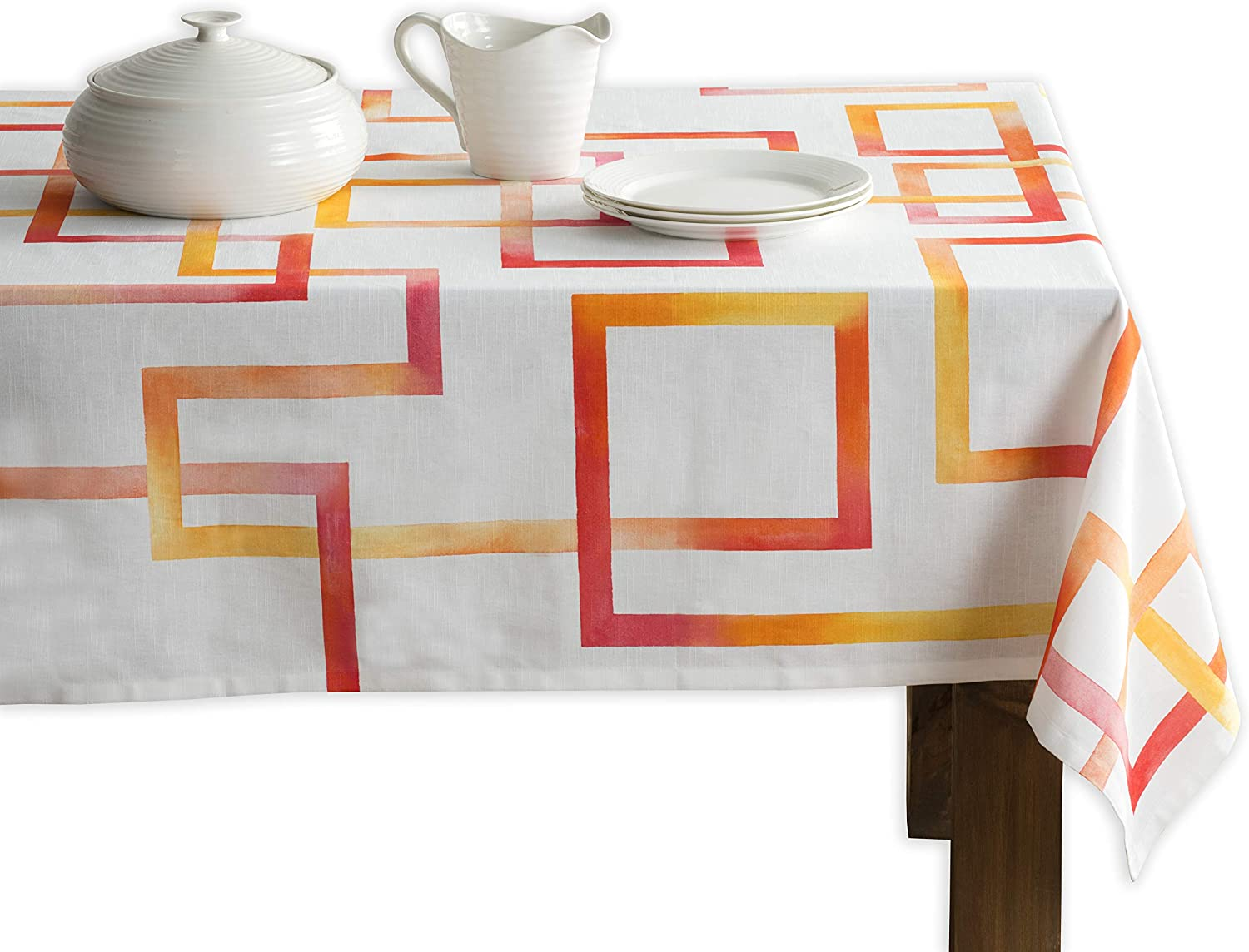 Maison d' Hermine Summer Maze 100% Cotton Tablecloth for Kitchen Dining   Tabletop   Decoration   Parties   Weddings   Spring/Summer (Square, 60 Inch by 60 Inch)