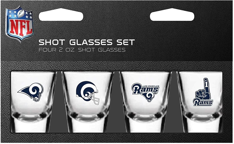 NFL Los Angeles Rams Shot Glass Set4 Pack Shot Glass Set, Team Colors, One Size