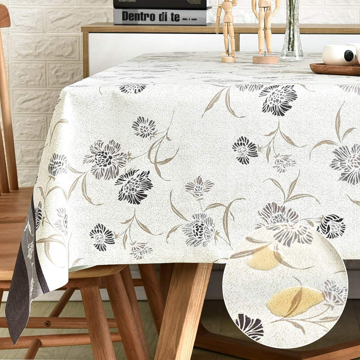 LOHASCASA Vinyl Oilcloth Tablecloth Small Rectangle Water Resistant/Oil-Proof Wipeable PVC Heavy Duty Plastic Tablecloths Weights for Outdoor Picnic - Floral Grey 54 x 72 Inch
