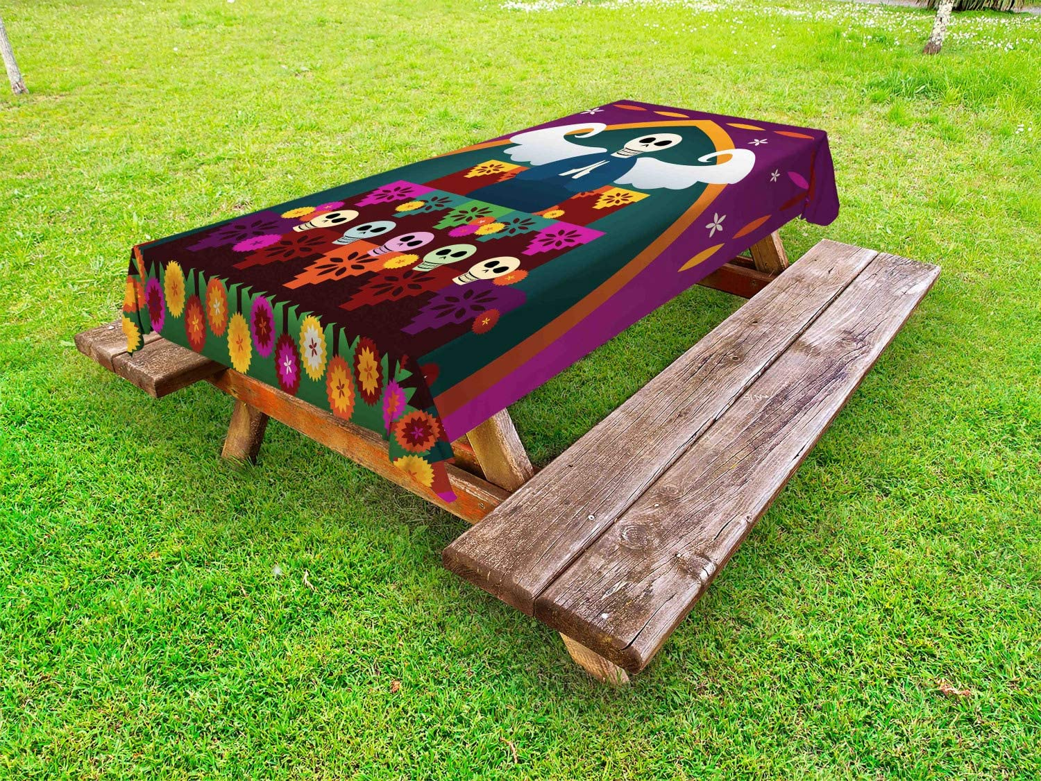 Ambesonne Sugar Skull Outdoor Tablecloth, Angel with Skull Head on top of Altar to Celebrate Dia de Los Muertos, Decorative Washable Picnic Table Cloth, 58