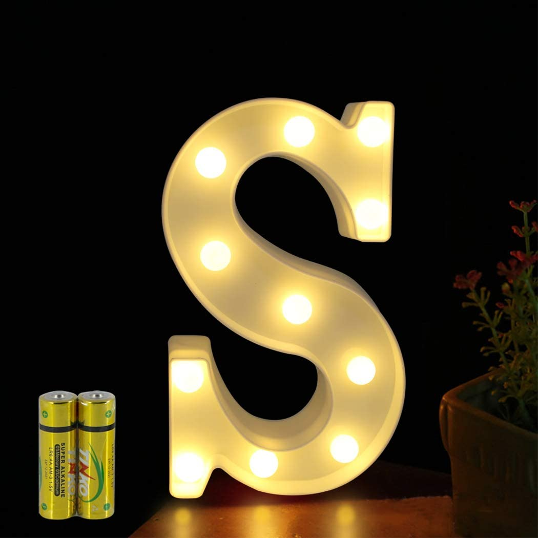 FUNRUI LED Marquee Letter Lights Sign 26 Alphabet Light Up Marquee Letters Lamp Sign for Bedroom Night Light Wedding Birthday Party Festival Valentine Battery Powered Home Bar Decoration (S)