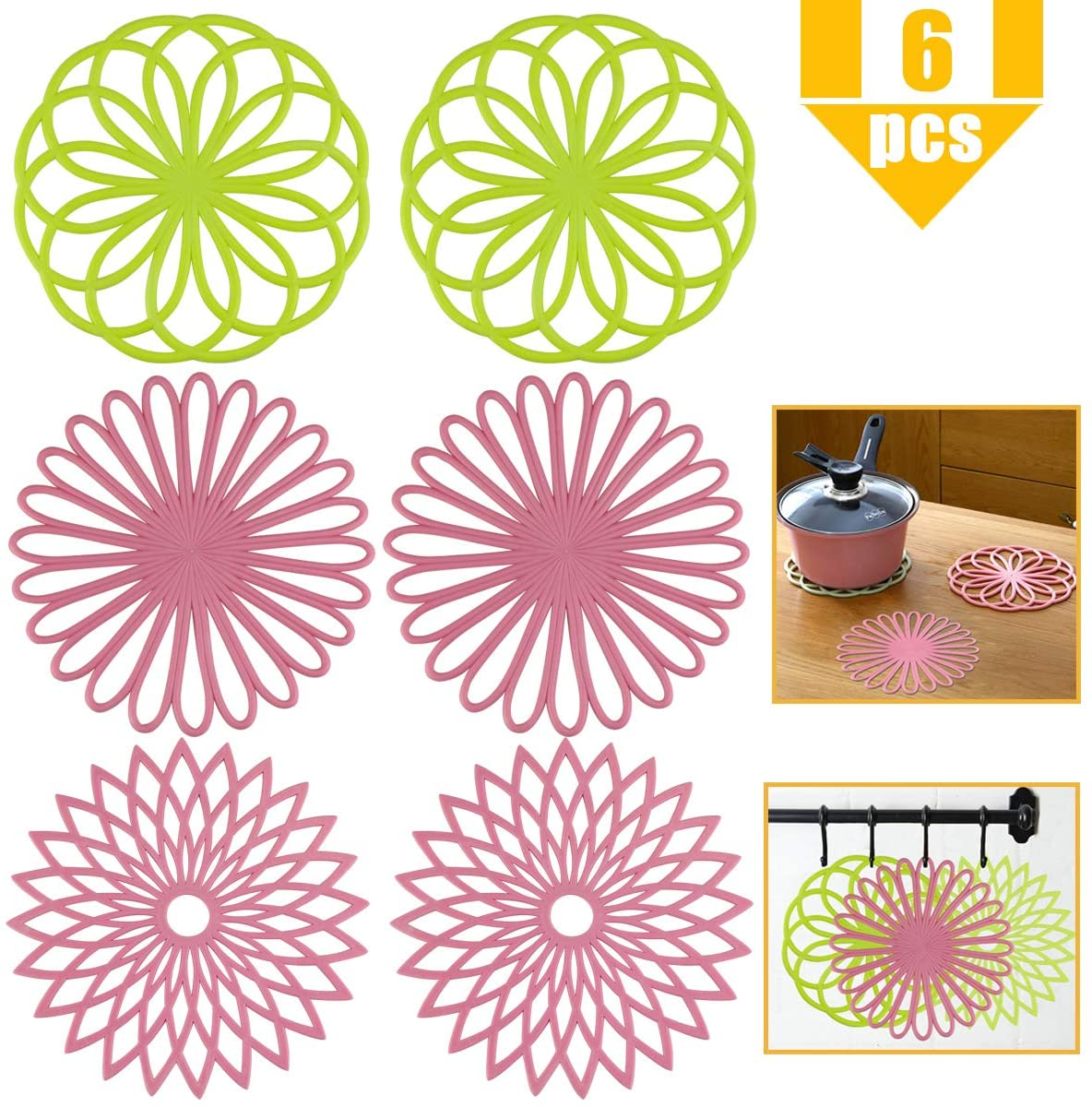 YG_Oline 6 Pcs Silicone Trivets for Hot Pots and Pans, 3 Different Designs Kitchen Decor Pot Holders Kitchen Heat Pad Silicone Hot Mat, Mixed Color