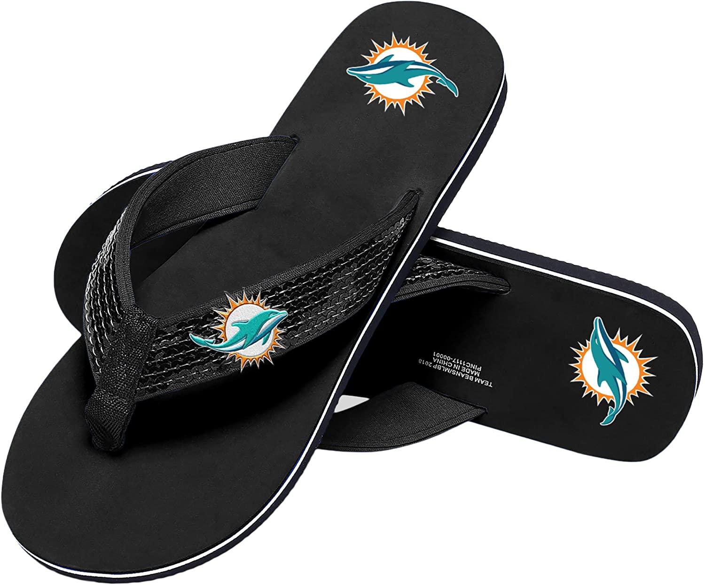 FOCO NFL Womens Sequin Strap Sandals Flip Flops