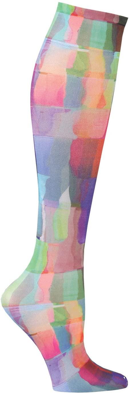 Celeste Stein Womens Mild Compression Knee High Stockings - Rainbow Tiles