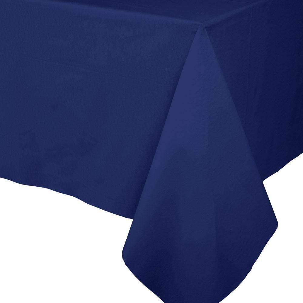 Caspari Solid Color Paper Linen Table Cover, 5 ft. x 8 ft, Navy Blue