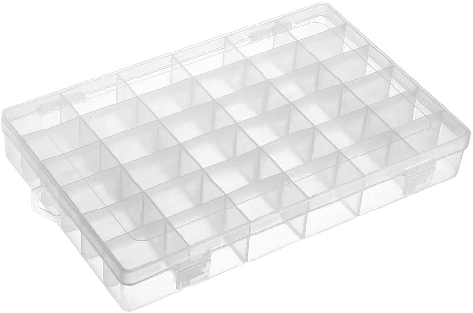 uxcell Component Storage Box - PP Fixed 36 Grids Electronic Component Containers Tool Boxes Clear White 275x188x44mm