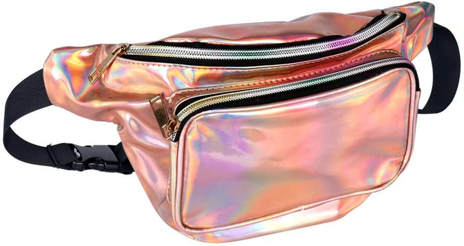Geestock Holographic Fanny Pack for Women/Men, PVC Waterproof Shiny Waist Bag, Laser Waist Bum Bag with Adjustable Belt for Travel, Party, Festival Rave, Running, Hiking (Rosegold)