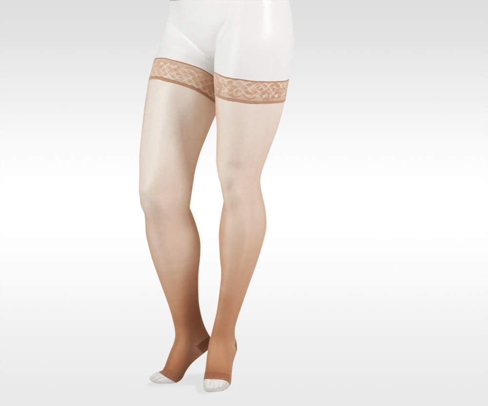 Naturally Sheer 2101ag 20-30mmhg Thigh-High Open Toe Compression Stockings