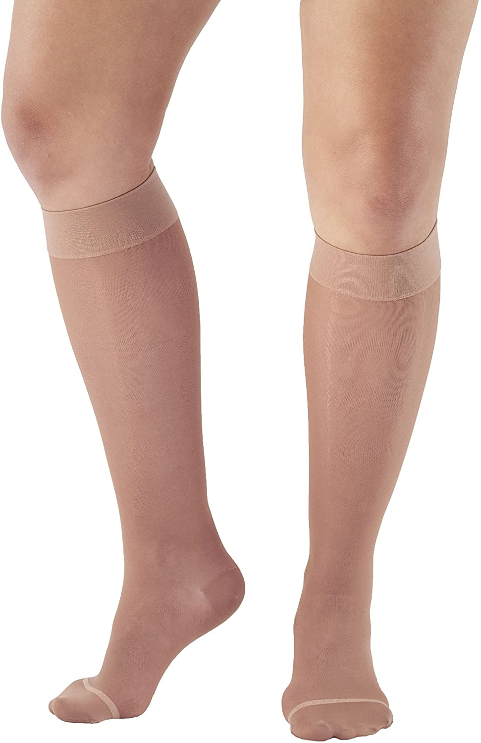Ames Walker AW Style 16 Sheer Support 15 20mmHg CT Knee High Stockings LtNude LG