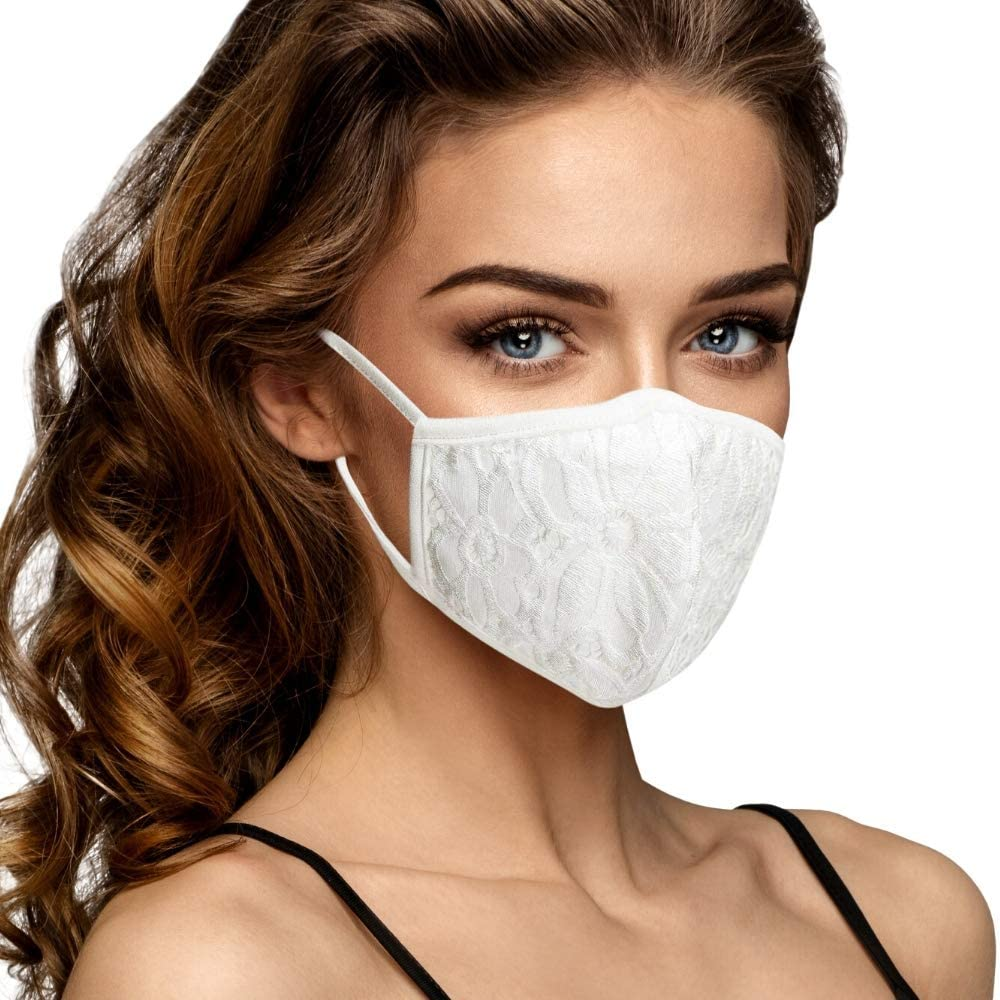 Cloth Face Mask Washable with Filter Pocket - Cute Designs for Women - Made in the USA (White Lace)