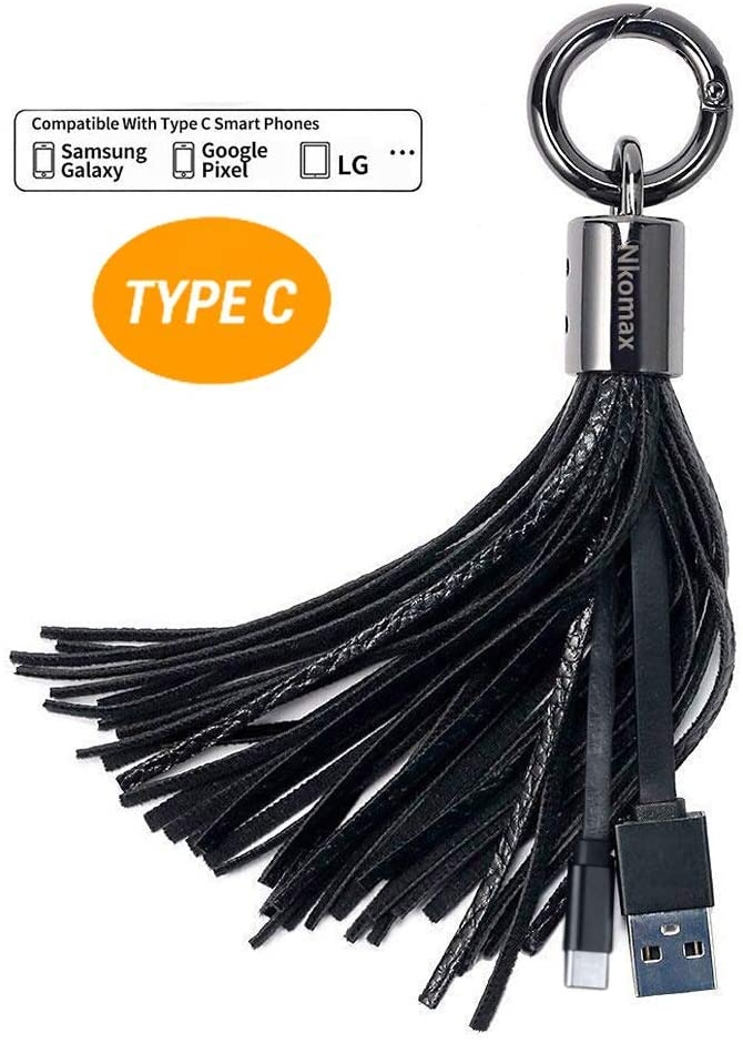 Tassel Key Chain Charging Cable USB-C to USB-A Cable, Leather Tassel Key Chain Type C Cord for Galaxy S10,S9, Note 9,S8, LG V30 V20 G6 5, Pixel 2,Huawei P9,P8 Moto G7 G6 Z3(Black)