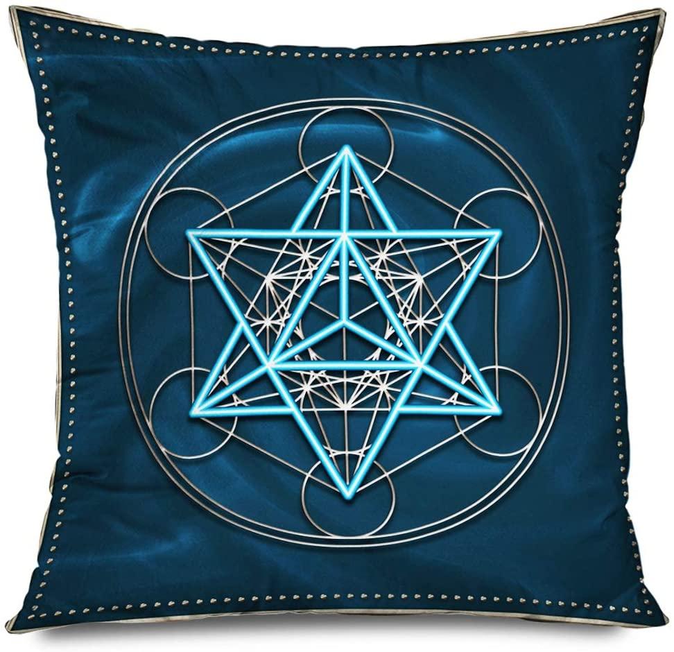 TETUDA Throw Pillow Cover Square 18x18 Inches Healing Metatron Cube Melchizedek Merkaba Star Manifest Tetrahedron Saint Abstract Chakra Practice Decorative Cushion Case Home Decor Zippered Pillowcase