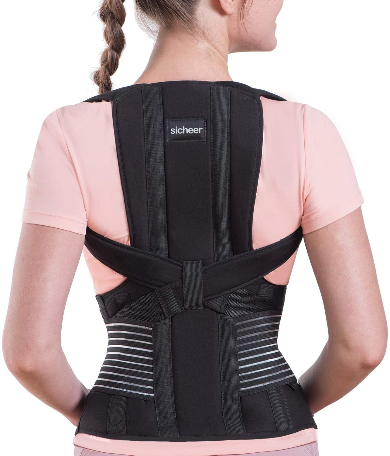 Posture Corrector for Women and Men Back Brace Straightener Shoulder Upright Support Trainer for Body Correction and Neck Pain Relief, Large, by Sicheer…