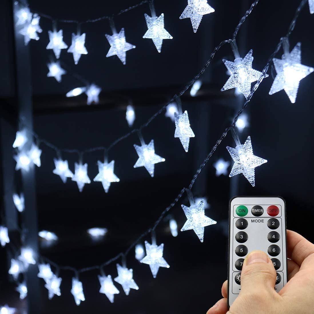 Xingpold Led Star String Lights,Outdoor Battery Operated String Lights White Fairy Lights,16.4 Feet 50 LED Waterproof Christmas Tree Lights for Indoor Wedding Halloween Camping Umbrella Birthday Party