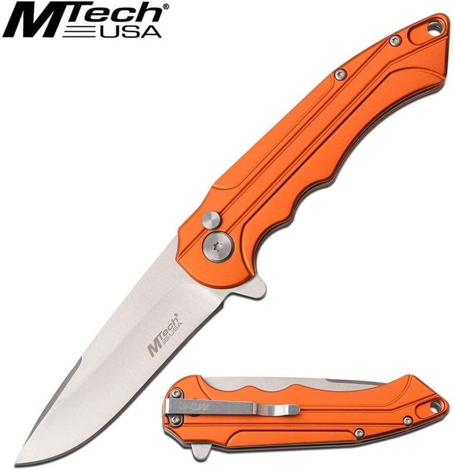 Orange Handle Manual Folder Folding Knife Knives Pocket Clip