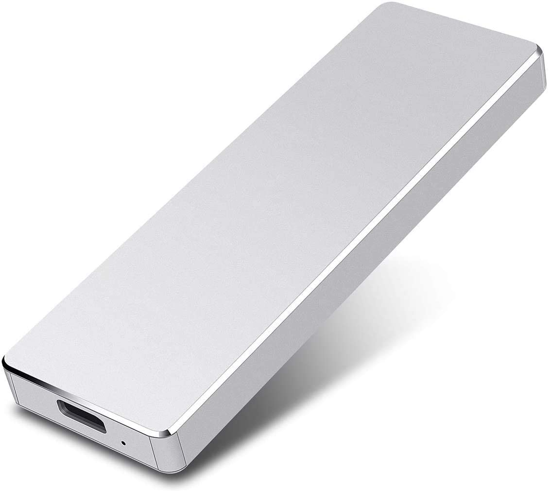 External Hard Drive, Slim External Hard Drive Portable Storage Drive Compatible with PC, Laptop and Mac (2TB, Silver)