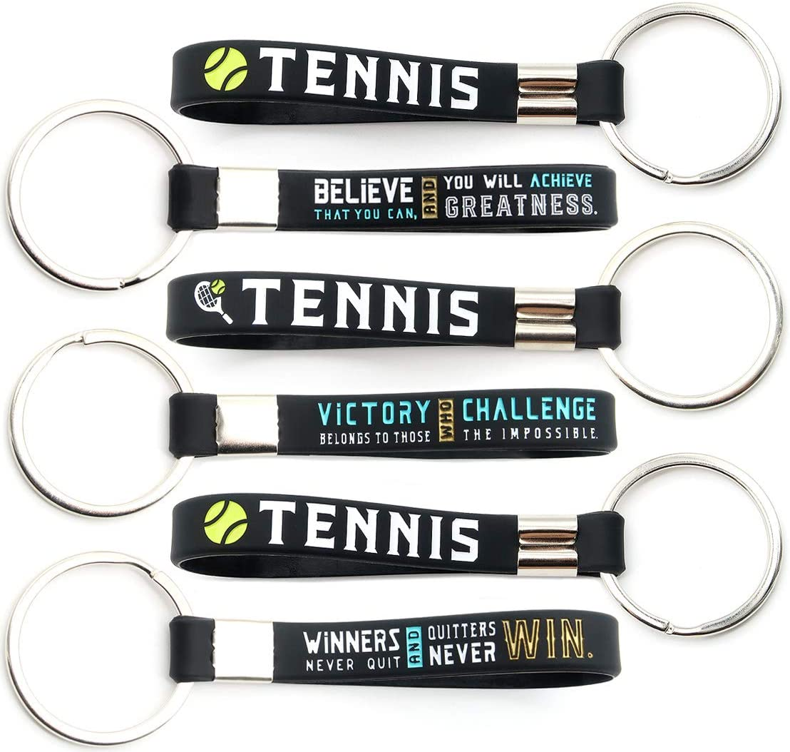 (12-Pack) Tennis Keychains with Motivational Quotes - Wholesale Pack of Key Chains in Bulk for Giveaway Gifts for Team, Tennis Theme Party Favors and Supplies for Boys Girls Men Women