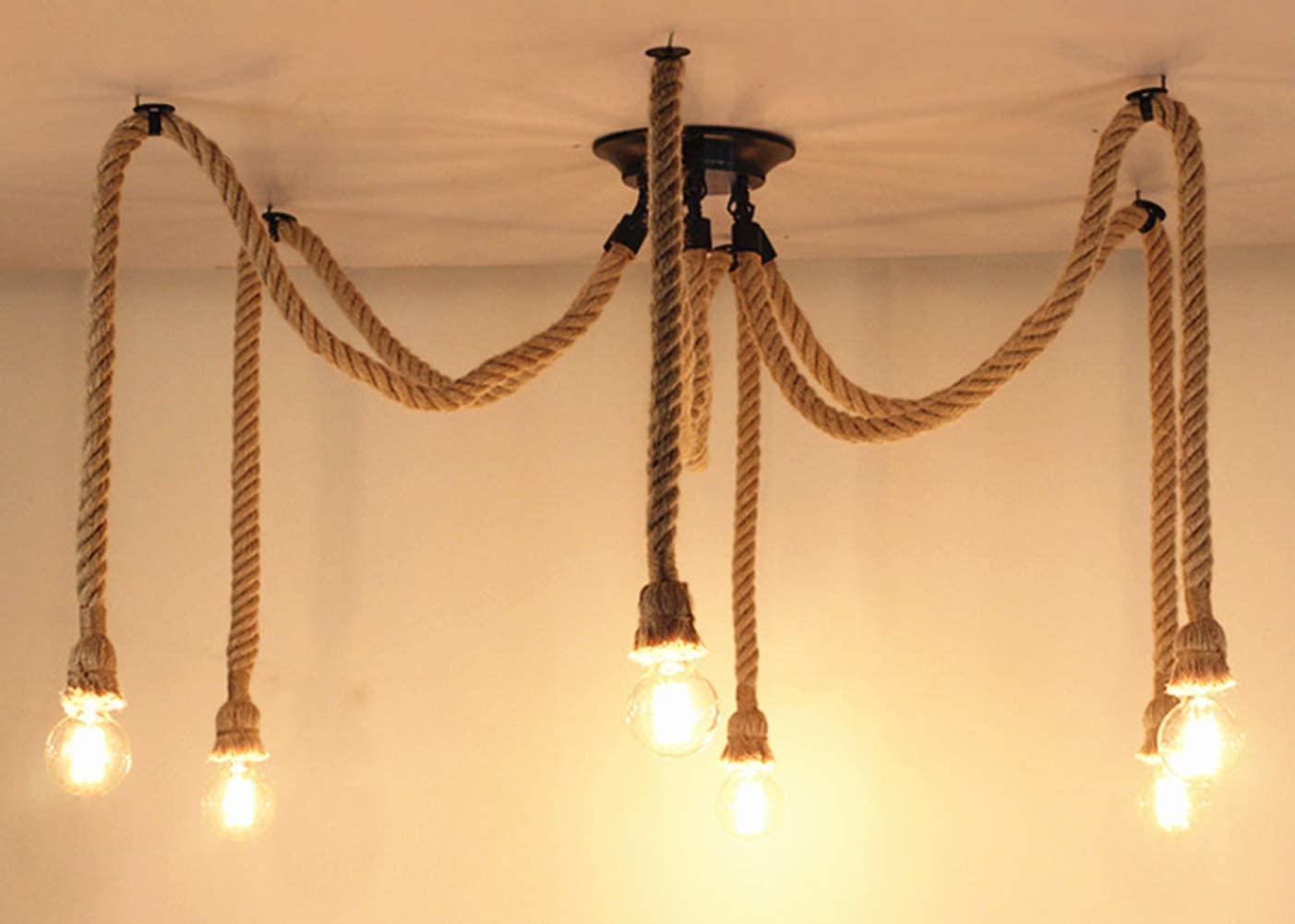 Pendant Light Hemp Rope Chandelier Vintage Ceiling Light Industrial Iron Metal Ceiling Lamp Edison E27 Loft Retro Style 6 Heads
