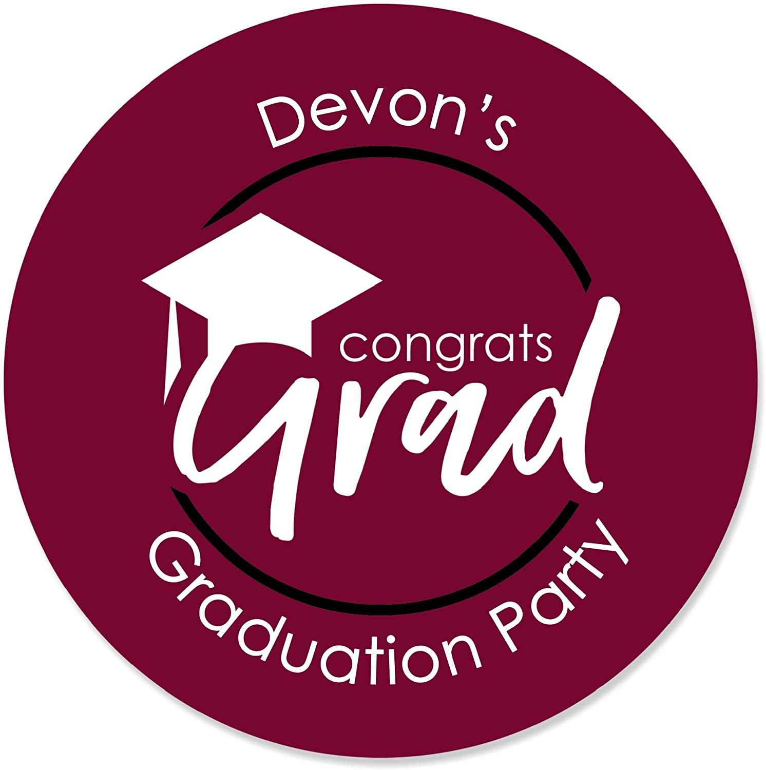 Personalized Maroon Grad - Best is Yet to Come - Custom Burgundy Graduation Party Favor Circle Sticker Labels - Custom Text - 24 Count