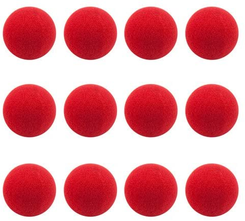 12-pack Red Foam Clown Noses | Squishy Novelty Nose Bulk Set | Red Nose Day, Birthdays, Circus, Dance Party, Rudolph Reindeer Nose, and Halloween Accessory, Party Favor, and Gag Gifts