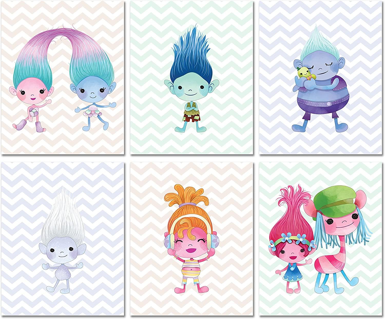 Trolls Prints - Kids Room Wall Art - Set of 6 (8 inches x 10 inches) Original Photos