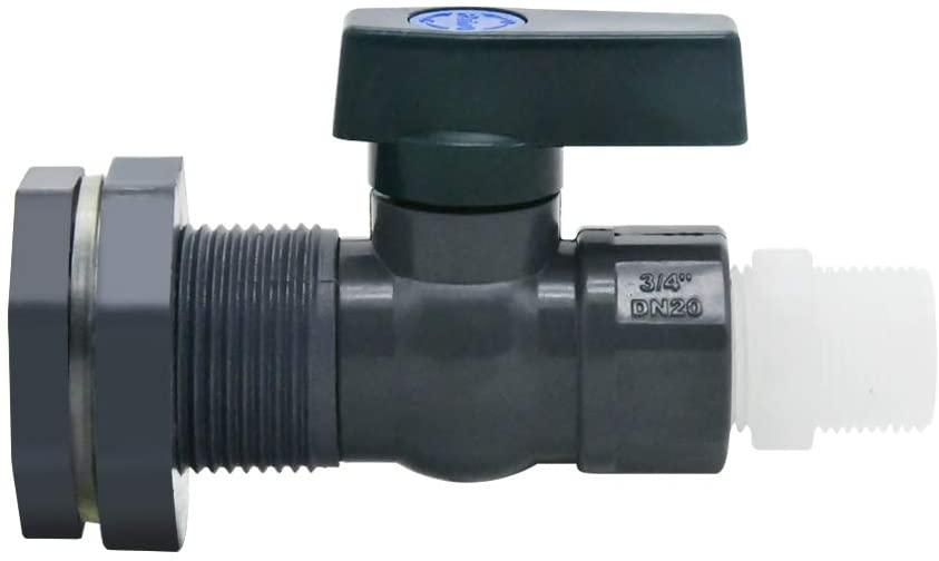 XMSSIT PVC Spigot Rain Barre Faucet Kit 3/4 Inch Rain Barrel Valve with Bulkhead Fitting and Hose Adapter for Water Tanks, Aquariums, Tubs, Pools