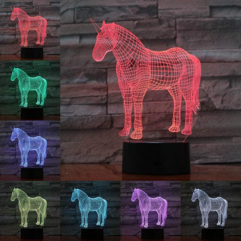 xcdfr 3D Night Light Optical Illusion LED Desk Table Lamp for Kids USB Animal Horse Unicorn Lamp Illusion Children s LED Bulb Multicolor Children s Gift Kid Toy Sense of Sight Effect