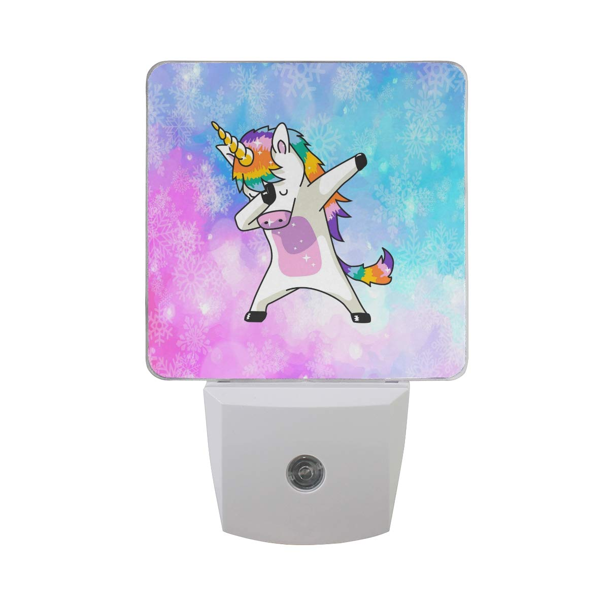 WXLIFE Galaxy Space Snowflake Unicorn Led Night Light 2 Pack, Auto Sensor Dusk to Dawn Night Light for Kids Boys Girls Toddler Bathroom Bedroom Hallway Decor